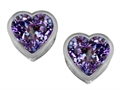 Original Star K(tm) 7mm Heart Shape Simulated Alexandrite Heart Earrings Studs