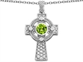 Celtic Love by Kelly(tm) Celtic Cross pendant with 7mm Round Simulated Peridot