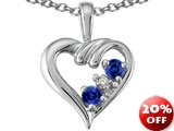 Tommaso Design Round Genuine Sapphire and Diamond Heart Pendant