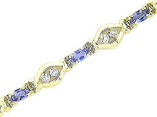 Genuine Tanzanite and Diamond Bracelet