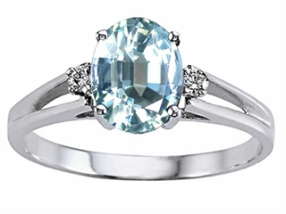 Genuine Aquamarine and Diamond Ring