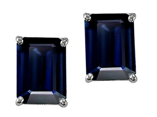 Genuine Octagon Black Sapphire Earrings