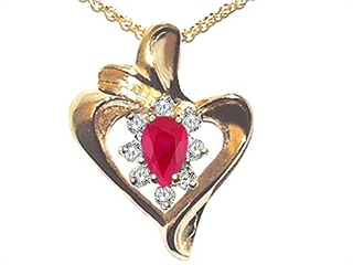 Ruby and Diamond Heart Shaped Pendant