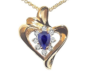 Sapphire and Diamond Heart Shaped Pendant