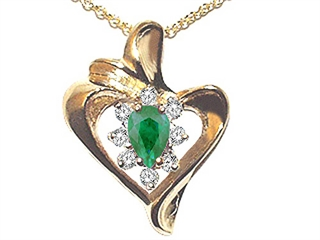 Emerald and Diamond Heart Shaped Pendant