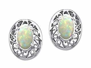 Tommaso Design Oval 5x3mm Genuine Opal Earrings
