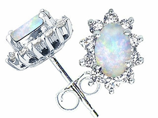 Tommaso Design Oval 6x4mm Genuine Opal Earrings