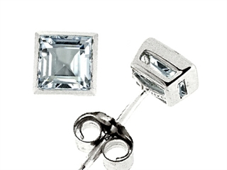 Genuine Square Aquamarine Earrings