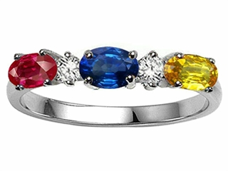 Tommaso Design Genuine 3 Stone Mothers Ring