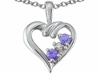 14k Gold Genuine Heart Shape Tanzanite Pendant