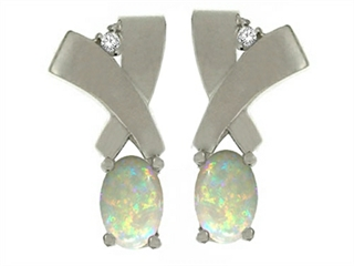 14 K Genuine Opal Earrings