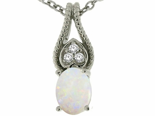 Tommaso Design Oval 7x5mm Genuine Opal Pendant Necklace