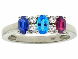 Tommaso Design Oval 3 Stone Mothers Ring