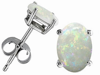 Tommaso Design Oval 7x5mm Genuine Opal Earrings Studs