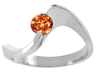 Silver - Genuine Orange Sapphire Ring