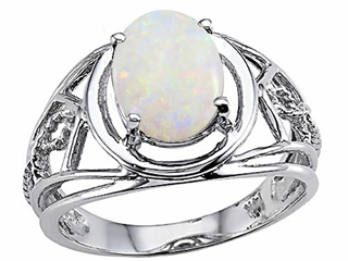 Tommaso Design Genuine Large Oval Opal Ring