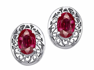 Diamond Mens Watches - Genuine Oval Ruby Earrings