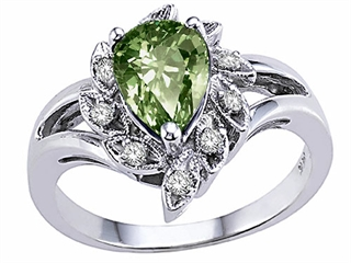 Genuine Green Sapphire and Diamond Ring
