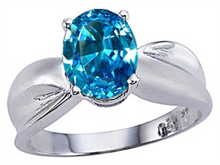 Genuine 9x7mm Oval Blue Topaz Ring.