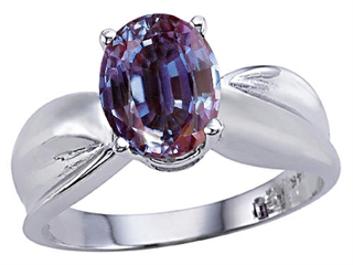 9x7mm Oval Lab Created Alexandrite Ring.