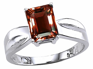 Tommaso Design Emerald Cut Genuine Garnet Ring
