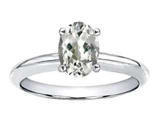 Tommaso Design Genuine White Topaz Solitaire Engagement Ring