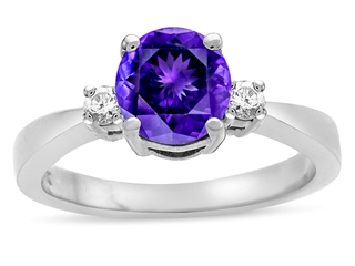 Tommaso Design Genuine Amethyst Engagement Ring