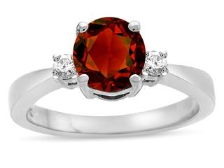 Tommaso Design Genuine Garnet Engagement Ring