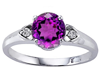 Tommaso Design Round Genuine Amethyst Engagement Ring