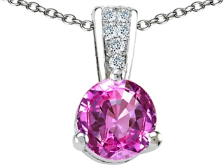 Tommaso Design Round 7mm Created Pink Sapphire Pendant Necklace