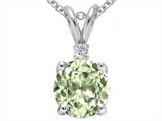 Tommaso Design Round 7mm Green Amethyst Pendant Necklace