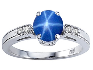 Tommaso Design Created Star Sapphire and Genuine Diamond Engagement Ring