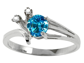 Tommaso Design Round 5mm Genuine Blue Topaz Ring