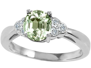 Tommaso Design Round 6 mm Green Amethyst Engagement Ring