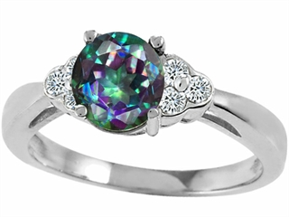 Tommaso Design Round Rainbow Mystic Topaz Engagement Ring