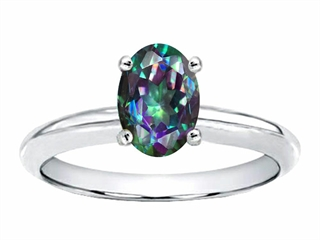 Tommaso Design Oval 8x6mm Mystic Rainbow Topaz Solitaire Engagement Ring