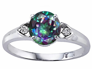 Tommaso Design Round 7mm Mystic Rainbow Topaz Engagement Ring
