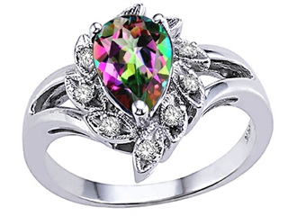 Tommaso Design Pear Shape 8x6 mm Mystic Rainbow Topaz Ring