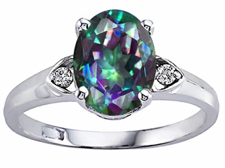 Tommaso Design Oval 9x7mm Mystic Rainbow Topaz Ring
