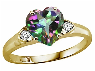 Tommaso Design Heart Shape 8mm Mystic Rainbow Topaz Ring
