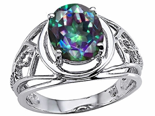 Tommaso Design Oval 10x8 mm Mystic Rainbow Topaz Ring