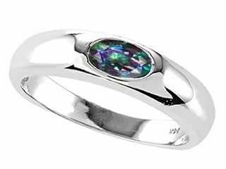 Tommaso Design Oval 6x4mm Mystic Rainbow Topaz Ring