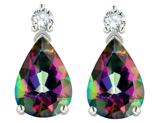 Tommaso Design Pear Shape 8x6mm Mystic Rainbow Topaz Earrings