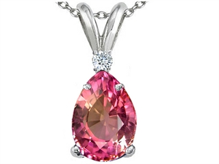 Tommaso Design Pear Shape 8x6 mm Genuine Pink Tourmaline Pendant Necklace