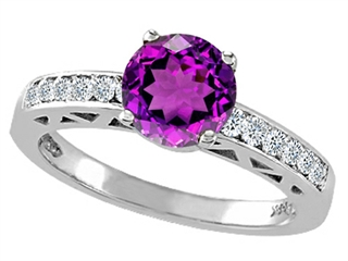 Tommaso Design Genuine Amethyst Solitaire Engagement Ring