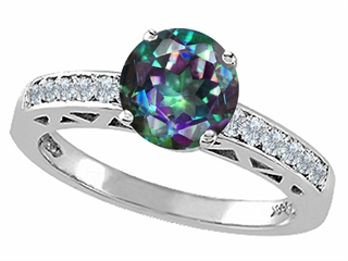Genuine Mystic Rainbow Topaz and Diamond Solitaire Engagement Ring