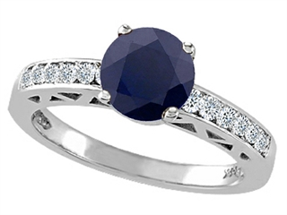 Genuine Black Sapphire and Diamond Solitaire Engagement Ring
