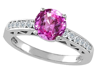 Genuine Lab Created Pink Sapphire and Diamond Solitaire Engagement Ring