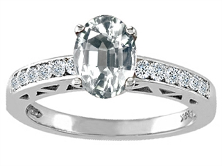 Genuine White Topaz and Diamond Solitaire Engagement Ring