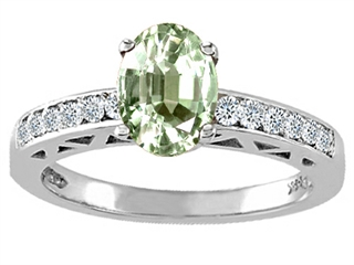 Genuine Green Amethyst and Diamond Solitaire Engagement Ring